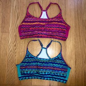 2- PACK Aerie Aztec Tribal Sports Bra Blue Pink